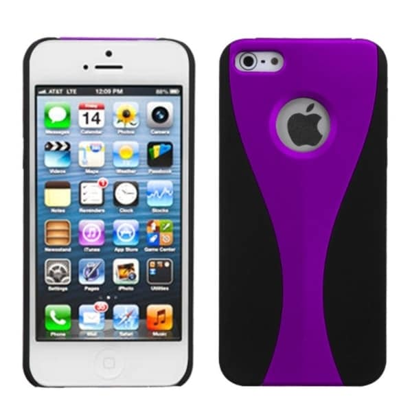INSTEN Purple/ Black Wave Rubberized Phone Case Cover for Apple iPhone 5
