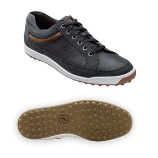 FootJoy Mens Contour Casual Spikeless Black/ Taupe Golf Shoes