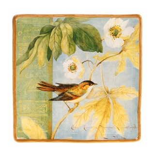 Certified International Botanical Birds Square Ceramic Platter