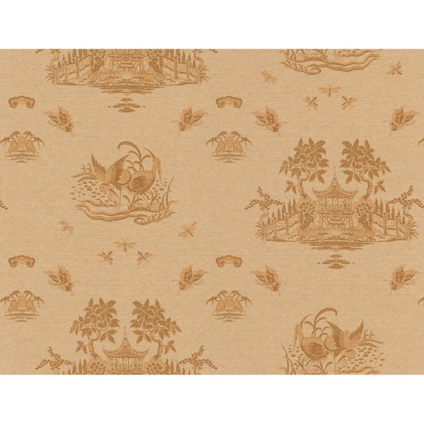 Brewster Brown Chinoiserie Toile Wallpaper