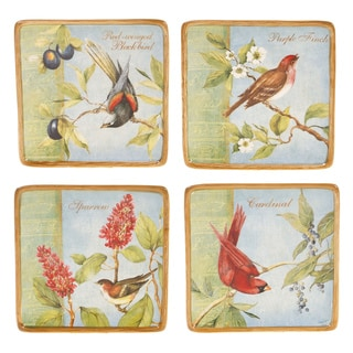 Certified International 4-piece Botanical Birds Canape Plate Set