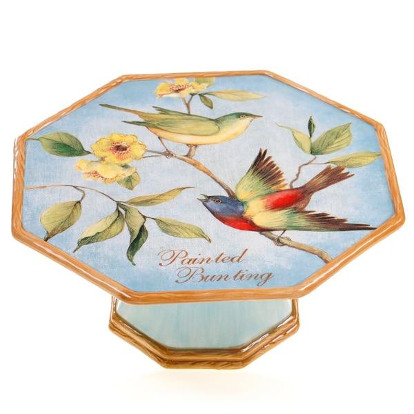 Certified International Botanical Birds Pedestal Cake Stand