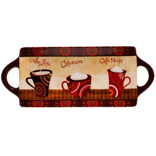 Certified International Cup of Joe Rectangular Platter with Handles