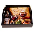 Wine and Cheese Party 4-Tile Square Wood Tray With Handles