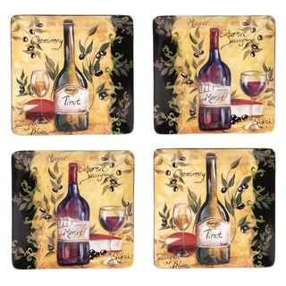 Certified International Wine and Cheese Party Dinner Plate (Set of 4)