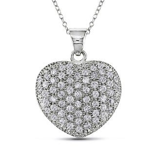 M by Miadora Sterling Silver Cubic Zirconia Heart Necklace