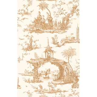 Brewster Beige Chinoiserie Toile Wallpaper