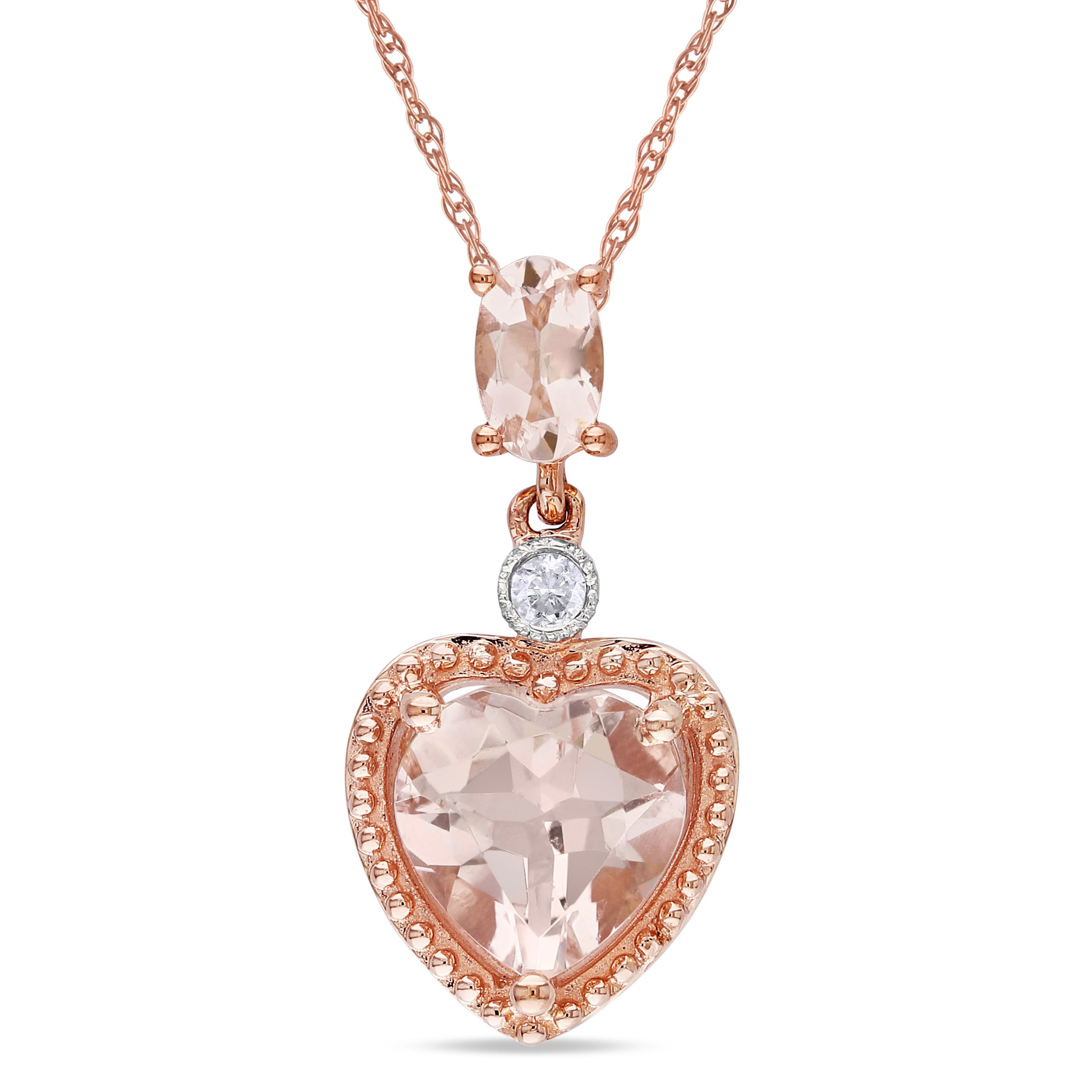 Miadora 10k Rose Gold Morganite and Diamond Heart Necklace