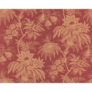 Brewster Red Jacobean Floral Wallpaper