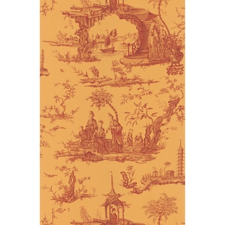 Brewster Gold Chinoiserie Toile Wallpaper