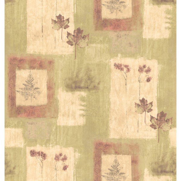 Brewster Olive Textured Leaf Pattern Wallpaper
