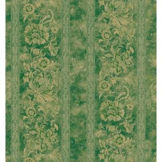 Brewster Green Floral Scroll Stripe Wallpaper
