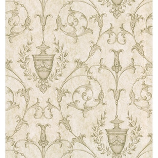Brewster Taupe Scrolling Urn Wallpaper