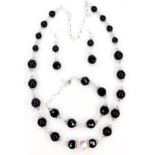 Silverplated Black Glass Pearl and Crystal Jewelry Set