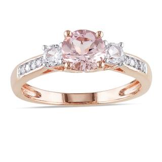 Miadora 10k Rose Gold Morganite, White Sapphire and Diamond Three-Stone Ring