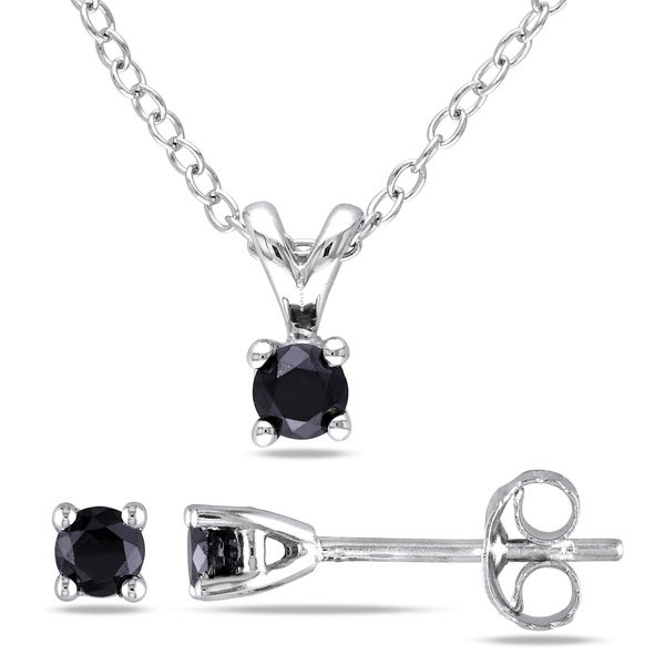 Haylee Jewels Sterling Silver Black Diamond Necklace and Earrings Set