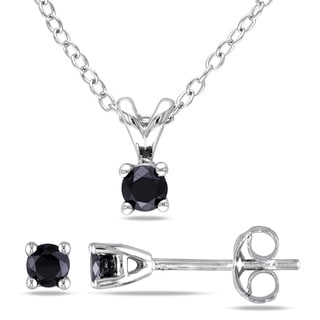 Miadora 1/2ct TDW Black Diamond Necklace and Bonus Earring Set