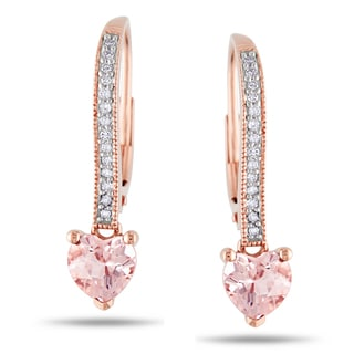Miadora 10k Rose Gold Morganite 1/10ct Diamond Heart Earrings (H-I, I2-I3)
