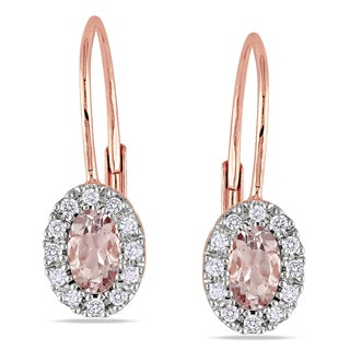 Miadora 10k Rose Gold Morganite 1/8ct TDW Diamond Earrings (H-I, I2-I3)