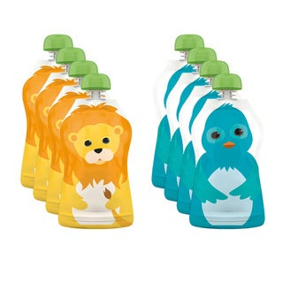 Squooshi Lion and Bluebird Small 2.5-ounce Reusable Food Pouches (Pack of 8)