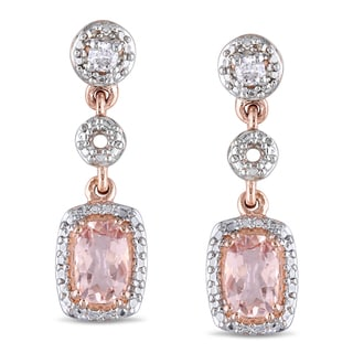 Miadora 10k Rose Gold Morganite and 1/10ct TDW Diamond Earrings