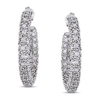 Miadora Sterling Silver Cubic Zirconia Hoop Earrings