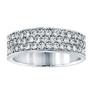 14k White Gold 1 1/4ct TDW Diamond 3-row Anniversary Band (F-G, SI1-SI2)