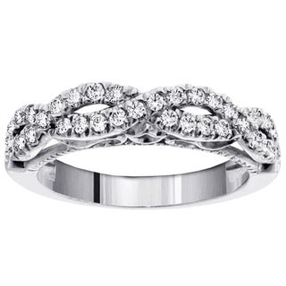 14k White Gold 3/4ct TDW Diamond Braided Wedding Band (F-G, SI1-SI2)