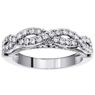 14k White Gold 3/4ct TDW Braided Vintage Diamond Band (F-G, SI1-SI2)