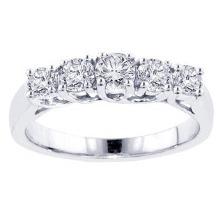 14k White Gold 1 1/4ct TDW Diamond 5-stone Wedding Band (F-G, SI1-Si2)