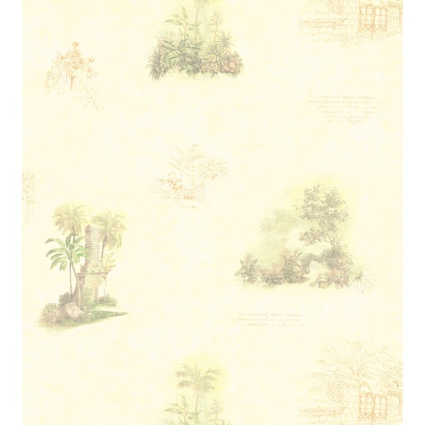 Brewster Cream Tropical Toile Wallpaper