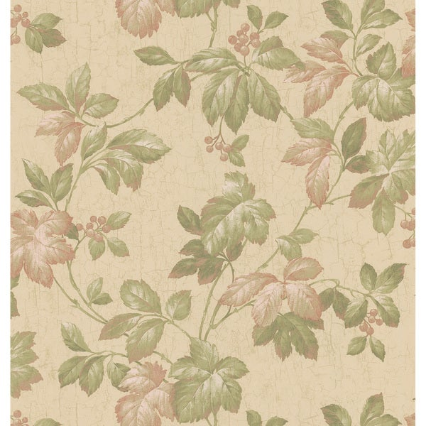 Brewster Green Leaves & Berries Wallpaper