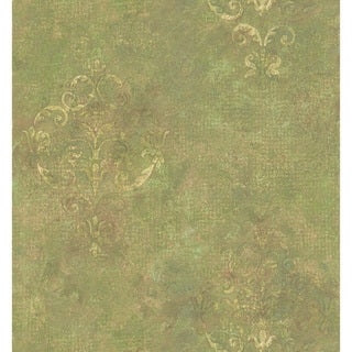 Brewster Green Damask Texture Wallpaper