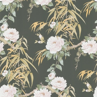 Brewster Dark Green Bamboo Floral Wallpaper