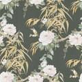 Brewster Dark Green Bamboo Floral Wallpaper