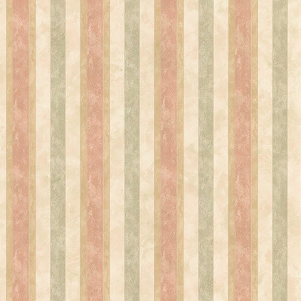 Brewster Salmon Textured Stripe Wallpaper