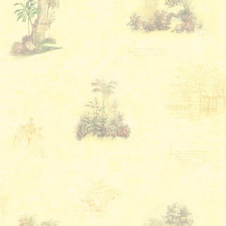 Brewster Light Yellow Tropical Toile Wallpaper