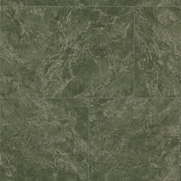 Brewster Dark Green Marble Tile Wallpaper