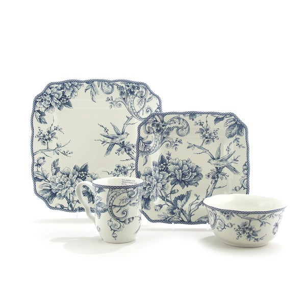 222 Fifth Adelaide Blue/ White 16-piece Dinnerware Set