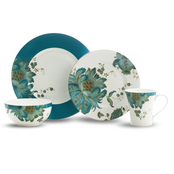 222 Fifth Eliza Teal 16-piece Dinnerware Set
