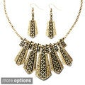 Bronzetone or Silvertone Antiqued Geometric Tribal Jewelry Set