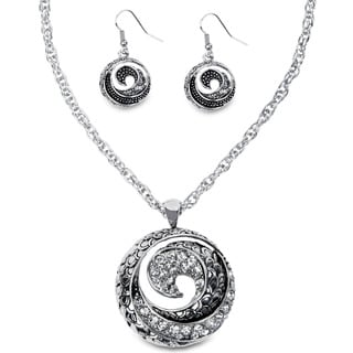 Silvertone Crystal Wave Jewelry Set