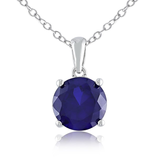 M by Miadora Sterling Silver Created Sapphire Solitaire Necklace