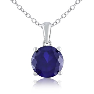 Miadora Sterling Silver Created Sapphire Solitaire Necklace
