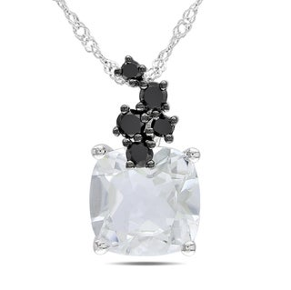 Miadora 10k White Gold White Topaz and 1/6ct TDW Black Diamond Necklace