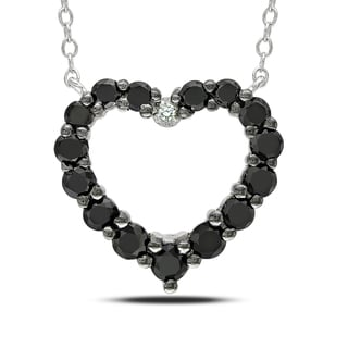 Haylee Jewels Silver 1ct TDW Diamond Black and White Diamond Heart Necklace