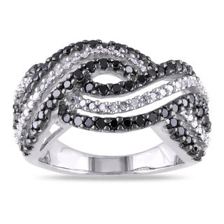 Miadora Sterling Silver 1ct TDW Black and White Diamond Twist Ring