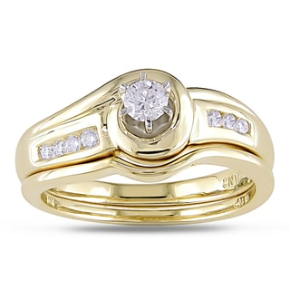 Miadora 10k Yellow Gold 1/4ct TDW Diamond Bridal Ring Set (H-I, I2-I3)