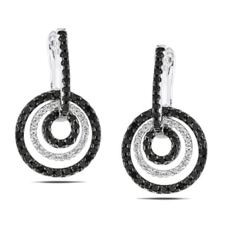 Miadora Sterling Silver 1ct TDW Black and White Diamond Earrings