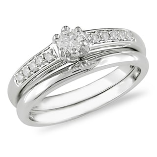 Miadora 10k White Gold 1/4ct TDW Diamond Bridal Ring Set (G-H, I1-I2)